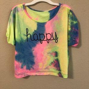 Tie Dye Shirt Happy Short Sleeve T-Shirt Boho